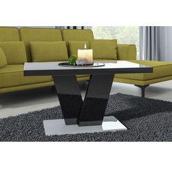 Stolik kawowy niko mini 90cm biało-czarny wysoki połysk marki Mato design