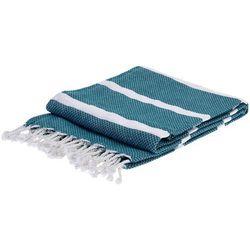 Ręcznik hammam prostokątny, kolor turkusowy z białymi pasami 150x 90 cm