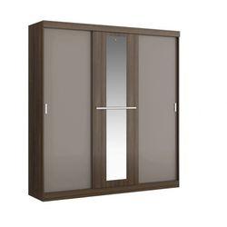 Szafa didda - 3 przesuwnych drzwi - dł.205 cm - kolor: czekoladowy i ciemnoszary marki Vente-unique