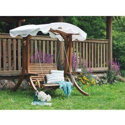 Huśtawka ogrodowa drewniana z daszkiem - beżowa andria marki Beliani