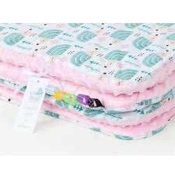 MAMO-TATO Komplet kocyk Minky do wózka + poduszka Jeżyki turkus / jasny róż