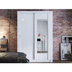 Szafa petteri – 2 pary drzwi przesuwanych – lustro – dł. 152 cm – kolor biały marki Vente-unique