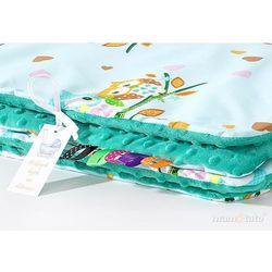 komplet kocyk minky 75x100 + poduszka sówki miętowe d / ciemna zieleń marki Mamo-tato