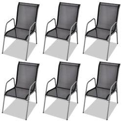 krzesła do jadalni ogrodowe 6 szt. textilene czarne od producenta Vidaxl