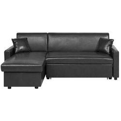 Sofa narożna rozkłada ze schowkiem prawostronna czarna OGNA (4251682220125)