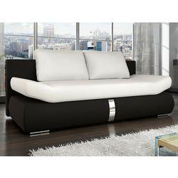 Rozkładana 2-osobowa kanapa z materiału skóropodobnego JADEN - Model dwukolorowy: biały i czarny