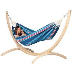 Zestaw hamakowy: hamak currambera ze stojakiem canoa, niebieski / turkusowy cuh14cns12-1 marki La siesta