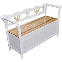 drewniana ławka ze schowkiem, 126x42x75 cm, biała marki Vidaxl