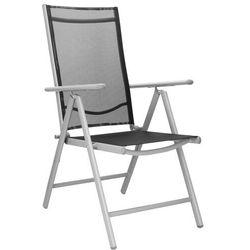 Springos Składane krzesło ogrodowe metalowe szaro czarne na balkon (5907719404523)
