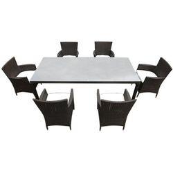 Meble ogrodowe rattan ogród patio weranda 6 krzeseł 160cm ITALY (4260580933778)