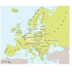 Obraz Mapa polityczna w Europie w 2015 roku w wytwórni i skali mapy. Nowe granice Ukrainy i Rosji na Krymie. Wszystkie dane ze sklepu REDRO