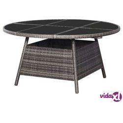 Vidaxl stół ogrodowy, szary, 150 x 74 cm, rattan pe