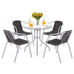 Home&garden Meble ogrodowe metalowe summer basic round 80 cm silver / black 4+1 (5902425326480)