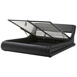 Łóżko czarne skóra ekologiczna podnoszony pojemnik 180 x 200 cm cm AVIGNON (4260586352238)