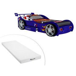 Vente-unique Łóżko samochód runner z szufladą — 90 × 200 cm — niebieskie + materac stelo kids 90 × 200 cm