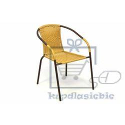 Krzesło ogrodowe na taras z polirattanu beżowe marki Garthen