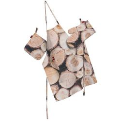 komplet kuchenny łapacz, rękawica oraz fartuch, motyw drewna, kpl, norge, marki Dekoria