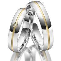 Srebrne Obrączki Ślubne - komplet. Polerowane, pozłacane żółtym złotem, z 1 cyrkonią