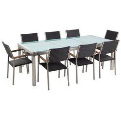Stół szklany - do ogrodu - 220 cm - z 8 krzesłami z rattanu - GROSSETO (7105272214773)