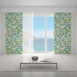 Zasłona okienna na wymiar - OLD-TIME MOSAIC GREENS