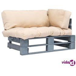 sofa ogrodowa z palet z piaskowymi poduszkami, drewno fsc marki Vidaxl