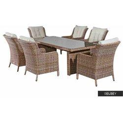 zestaw mebli ogrodowych lyste stół 200x96 cm z sześcioma krzesłami marki Selsey