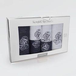 Komplet ręczników 6 szt. wzór monogram grafit/stal marki Zwoltex
