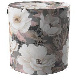 Dekoria puf barrel, kremowe i różowe kwiaty na szarym tle, ø40, wys. 40 cm, gardenia