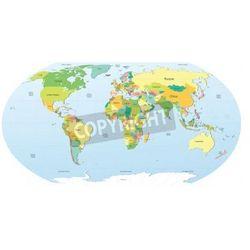 Naklejka bardzo szczegółowe mapa polityczna świata (mapa szkolna)