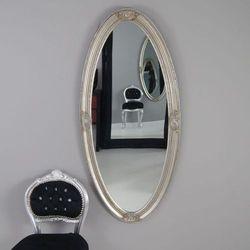 Design by impresje24 Owalne lustro, ozdobna, drewniana rama, kolor srebrny.