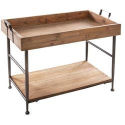 Drewniany stolik kawowy, prostokątny - 2 poziomy w stylu vintage