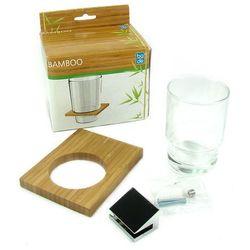 Kubek łazienkowy BAMBUS drewno bambusowe + szkło + chrom, ECBA800470
