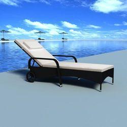 Vidaxl leżak z poduszką i dwoma kółkami, polirattanowy, czarny (8718475500803)