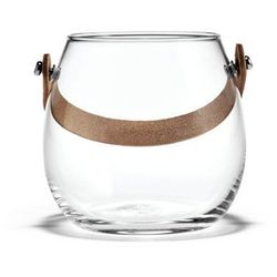 Szklana doniczka ze skórzanym uchwytem s - marki Holmegaard