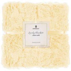 Narzuta na łóżko, pled 220x240 cm dwustronny koc na kanapę jasny żółty marki Springos