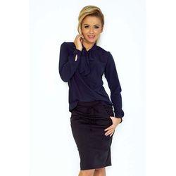 Numoco Granatowa bluzka elegancka z wiązaną szarfą