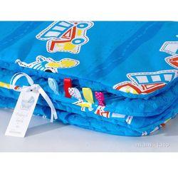 komplet kocyk minky do wózka + poduszka auta niebieskie / niebieski marki Mamo-tato