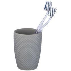 Praktyczny, ceramiczny kubek w kolorze szarym, do przechowywania szczoteczek do zębów oraz pasty, średnica 8 cm, marka WENKO (4008838222508)