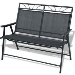 Vidaxl  składana ławka ogrodowa texteline i metalowa, czarna