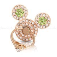 Hurtel Uchwyt na telefon ring z podstawką w kształcie pierścionka myszka zielone cyrkonie złoty - 11
