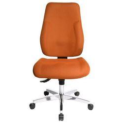 Krzesło obrotowe dla operatora, wyściełane oparcie, obicie pomarańczowe. łatwe w marki Topstar