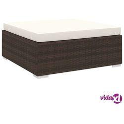 vidaXL Podnóżek do mebli modułowych, z poduszką, polirattan, brązowy (8719883725208)