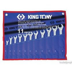 King tony Zestaw kluczy płasko-oczkowych z grzechotką 11części 14111mr
