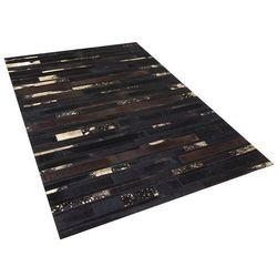 Dywan - brązowo - złoty - skóra - patchwork - 160x230 cm - ARTVIN