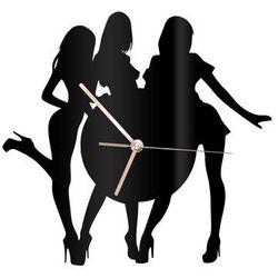 Zegar z pleksi na ścianę Kobiety z złotymi wskazówkami, kolor czarny