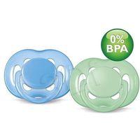 smoczek uspokajający sensitive, silikonowy, 6-18 miesięcy. zielony niebieski marki Avent