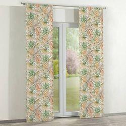 Dekoria zasłony panelowe 2 szt., tropikalne motywy w odcieniach zieleni i brązu na jasnym tle, 60 × 260 cm,