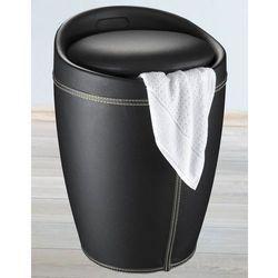 Skórzana pufa CANDY BLACK - kosz na pranie, 2 w 1, WENKO, B00TQQ4MAI
