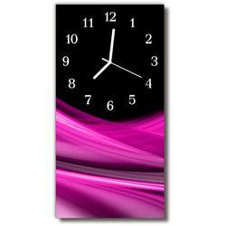 Zegar Szklany Pionowy Sztuka Abstrakcja linie różowa