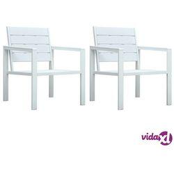 Vidaxl krzesła ogrodowe, 2 szt., białe, hdpe o wyglądzie drewna (8719883751504)